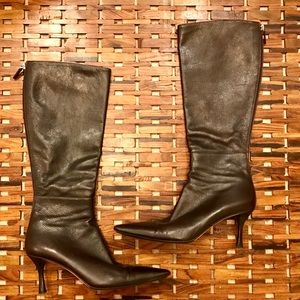 Authentic Dark Brown Leather Gucci Boots
